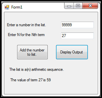 Screenshot of the gui for getting the check digit