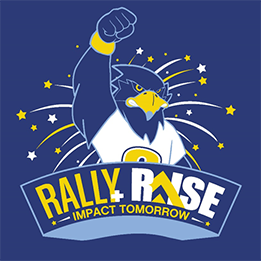 Blue Rally & Raise Impact Tomorrow logo with Rally the Raider mascot raising his fist in the air surrounded in gold and white stars.