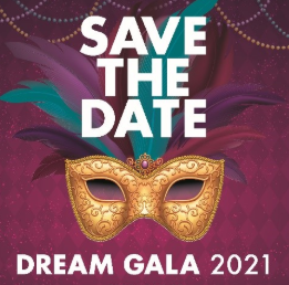Save the Date Dream Gala 2021 February 20 purple and wine colored poster with purple, pink, and orange beads draping the top of the poster and purple, teal feathers attached to a gold mask